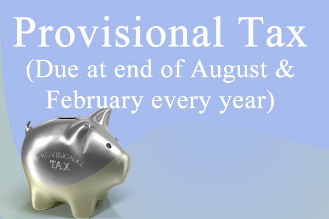 Provisional Tax (Due at end of August & February every year)
